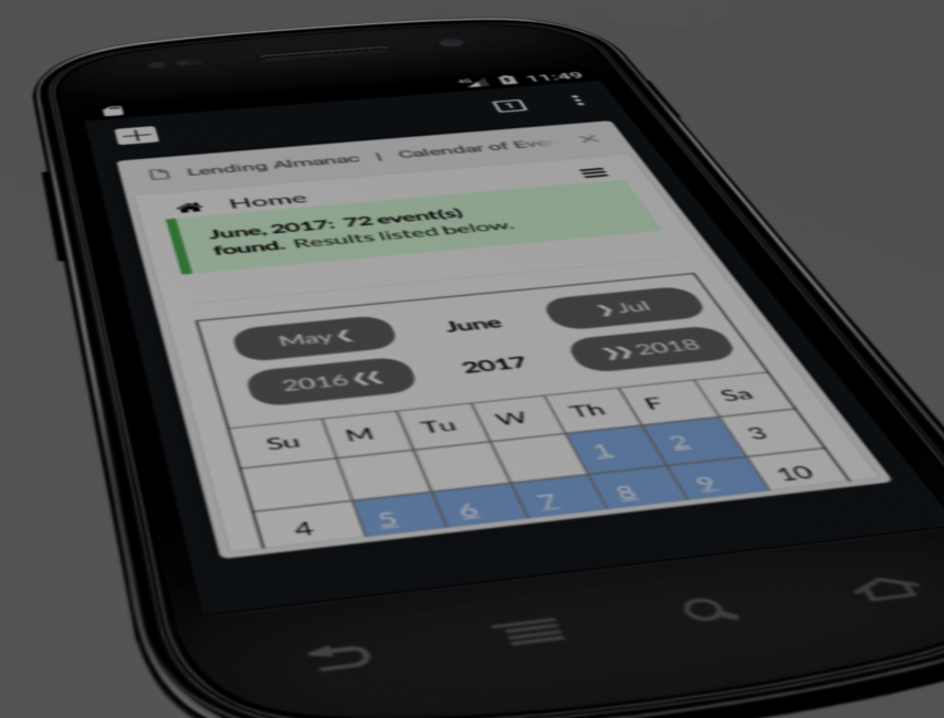 Lending Almanac mobile smart phone calendar